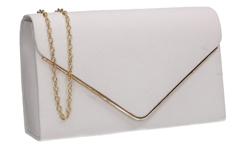 Poppy Faux Suede Envelope Clutch Bag White