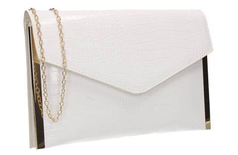 Bella Croc Effect Slim Clutch Bag White