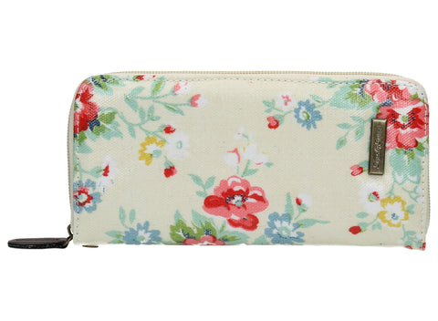 Hayley Floral Large Zipped Wallet - Cream White-Purse-SWANKYSWANS