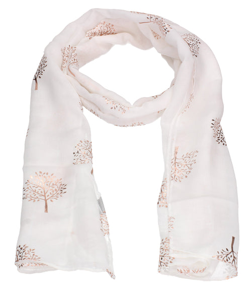 Swanky Swans Mulberry Rose Gold Tree Scarf White Beautiful school Summer Winter Scarf