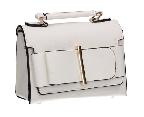 Julian Faux Leather Work Crossbody White