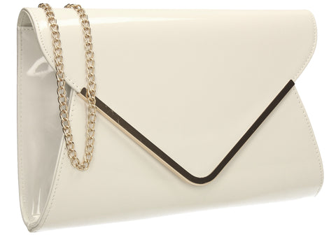 Billie Envelope Clutch Bag White-Clutch Bag-SWANKYSWANS
