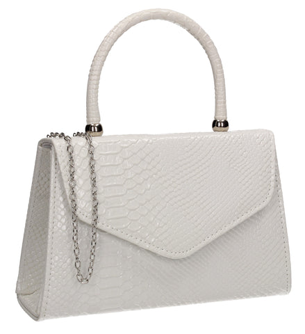 Lucy Mini-Handbag Faux Leather Snakeskin Effect Clutch Bag White