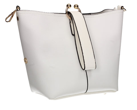 Kristina Faux Leather Bucket Bag Handbag White