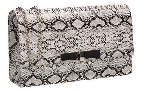 Tana Faux Leather Animal Style Clutch Bag White