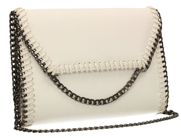 SWANKYSWANS Winona Clutch Bag White Cute Cheap Clutch Bag For Weddings School and Work