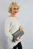 Blair Tassle & Diamante Clutch Bag Grey