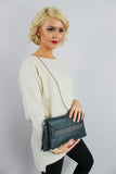 Blair Tassle & Diamante Clutch Bag Green