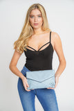 Kendra Laser Cut Detail Clutch Bag Blue