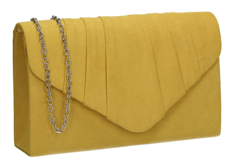 Iggy Faux Suede Clutch Bag Yellow