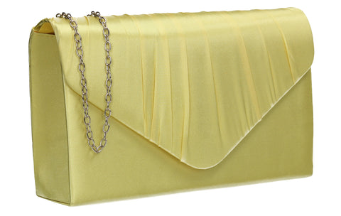 Chantel Beautiful Satin Envelope Clutch Bag Yellow