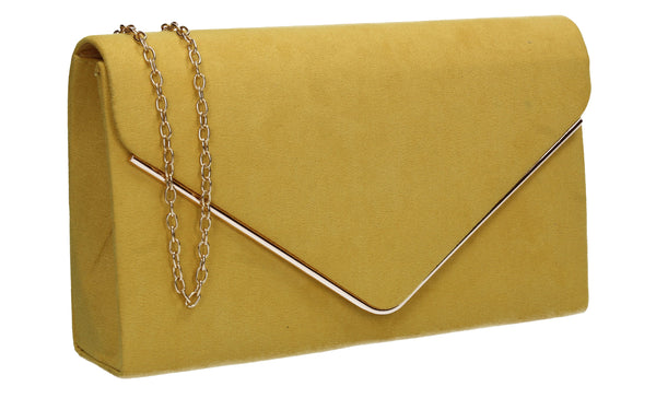 Poppy Faux Suede Envelope Clutch Bag Yellow