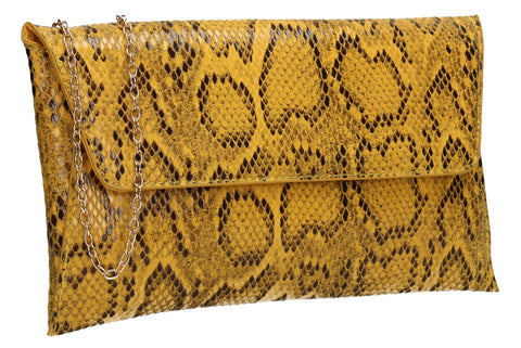 Karla Faux Snakeskin Effect Flapover Clutch Bag Yellow
