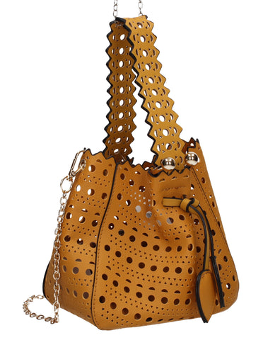 Tegan Laser Cut Detail Bucket Grab Bag Mustard Yellow