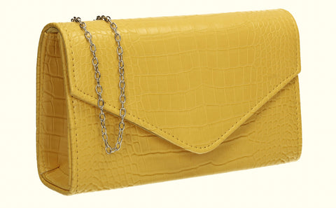 Emily Croc Effect Clutch Bag Yellow