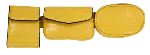 Sonia 3 Piece Faux Leather Utility Belt bag Yellow