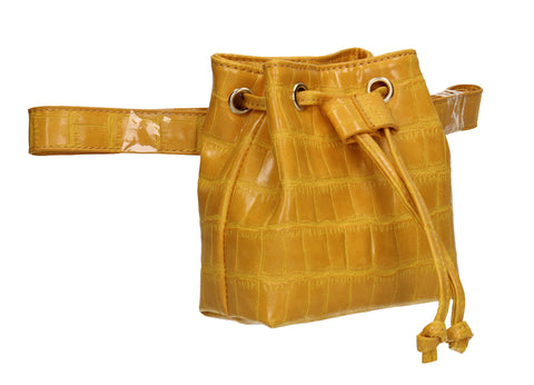 Ciara Faux Leather Croc Belt Bag Yellow