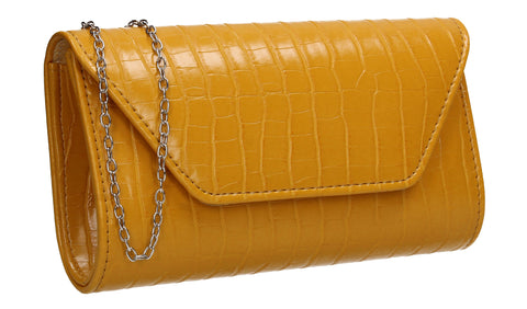 Erin Croc Effect Clutch Bag Yellow