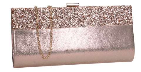 SWANKYSWANS Kathy Glitter Clutch Bag Champagne Cute Cheap Clutch Bag For Weddings School and Work