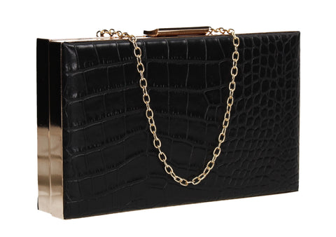 Amelia Box Shape Croc Effect Clutch Bag Black