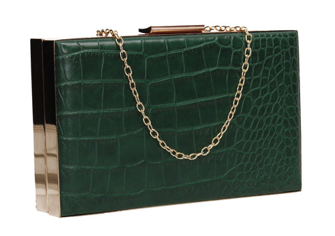 Amelia Box Shape Croc Effect Clutch Bag Green