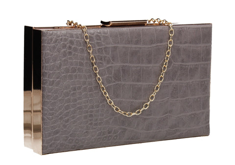 Amelia Box Shape Croc Effect Clutch Bag Grey