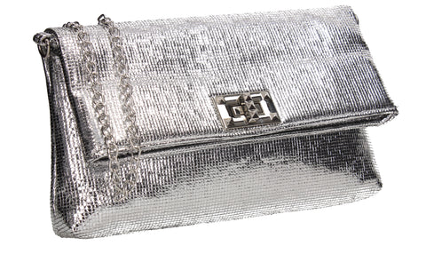 Tess Glamour Party Clutch Bag Silver
