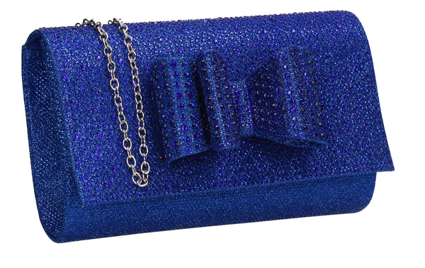 SWANKYSWANS Willa Glitter Bow Clutch Bag Blue Cute Cheap Clutch Bag For Weddings School and Work