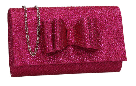 Willa Glitter Bow Clutch Bag Fuschia
