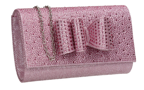 Willa Glitter Bow Clutch Bag Pink