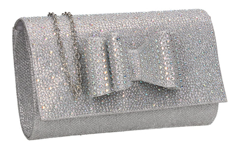 SWANKYSWANS Willa Glitter Bow Clutch Bag Silver Cute Cheap Clutch Bag For Weddings School and Work