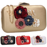 SWANKYSWANS Eliza Floral Clutch Bag Gold Cute Cheap Clutch Bag For Weddings School and Work