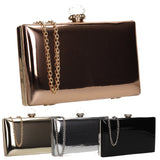 SWANKYSWANS Emilia Patent Clutch Bag Gold Cute Cheap Clutch Bag For Weddings School and Work