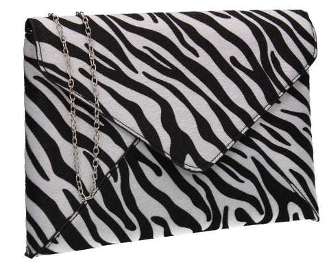 Sasha Faux Suede Zebra Print Envelope Clutch Bag White