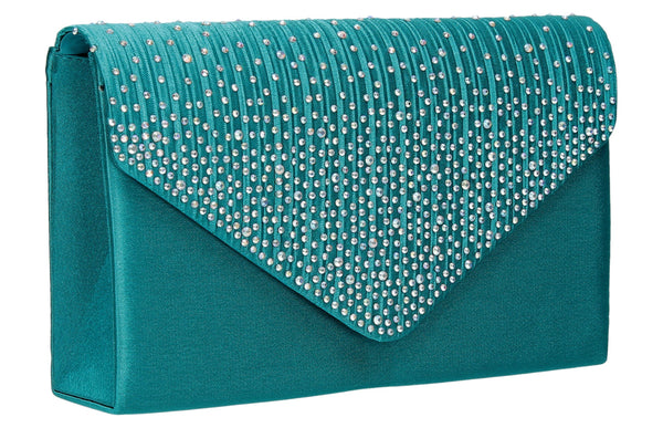 SWANKYSWANS Abby Diamante Clutch Bag Teal Cute Cheap Clutch Bag For Weddings School and Work