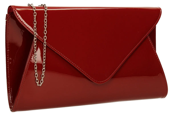 SWANKYSWANS Juliet Patent Envelope Clutch Bag Burgundy Cute Cheap Clutch Bag For Weddings School and Work