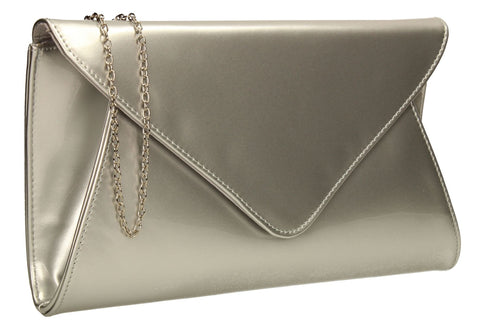 SWANKYSWANS Juliet Patent Envelope Clutch Bag Silver Cute Cheap Clutch Bag For Weddings School and Work