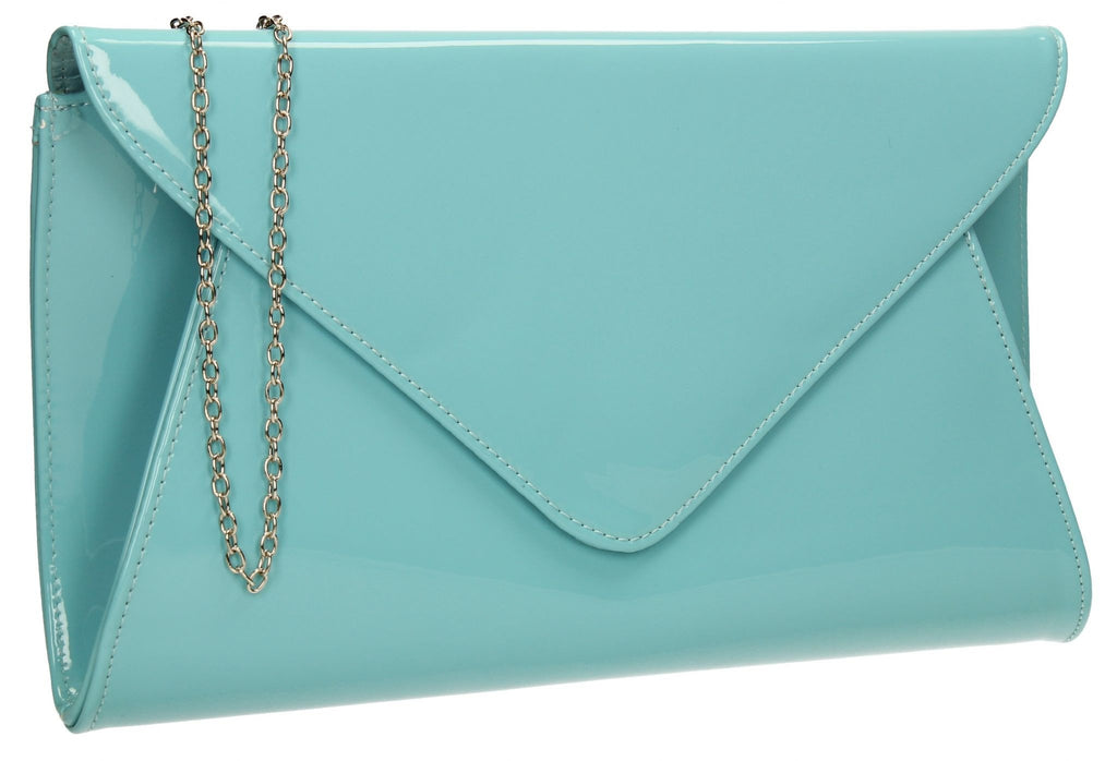 eae04e5ac1 SWANKYSWANS Juliet Patent Envelope Clutch Bag Mint Cute Cheap Clutch Bag  For Weddings School and Work