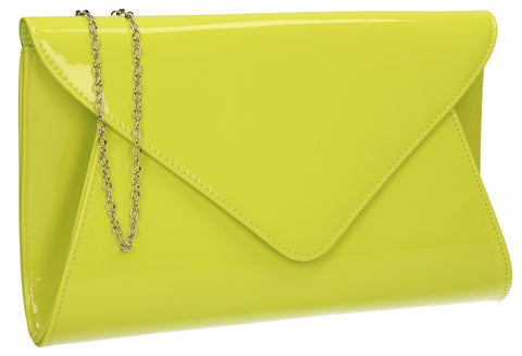 SWANKYSWANS Juliet Patent Envelope Clutch Bag Lime Cute Cheap Clutch Bag For Weddings School and Work
