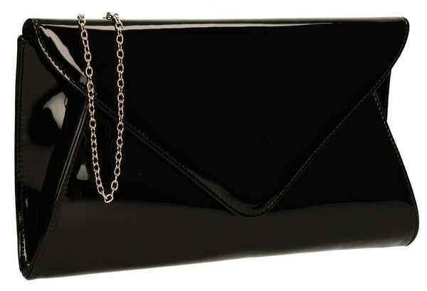 SWANKYSWANS Juliet Patent Envelope Clutch Bag Black Cute Cheap Clutch Bag For Weddings School and Work