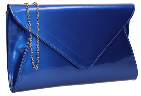 SWANKYSWANS Juliet Patent Envelope Clutch Bag Royal Blue Cute Cheap Clutch Bag For Weddings School and Work