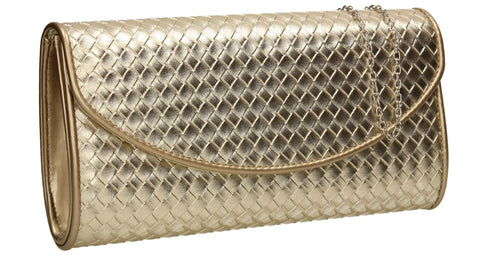 SWANKYSWANS Anny Weave Flapover Clutch Bag Gold Cute Cheap Clutch Bag For Weddings School and Work