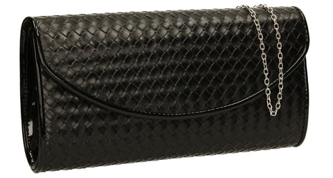 SWANKYSWANS Anny Weave Flapover Clutch Bag Black Cute Cheap Clutch Bag For Weddings School and Work