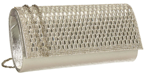 SWANKYSWANS Aria Diamante Clutch Bag Silver Cute Cheap Clutch Bag For Weddings School and Work