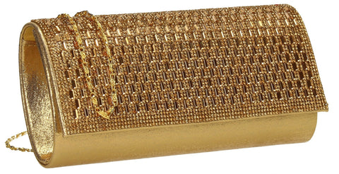 SWANKYSWANS Aria Diamante Clutch Bag Gold Cute Cheap Clutch Bag For Weddings School and Work