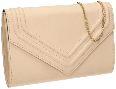 SWANKYSWANS Ashby Envelope Clutch Bag Beige Cute Cheap Clutch Bag For Weddings School and Work