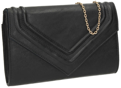 SWANKYSWANS Ashby Envelope Clutch Bag Black Cute Cheap Clutch Bag For Weddings School and Work