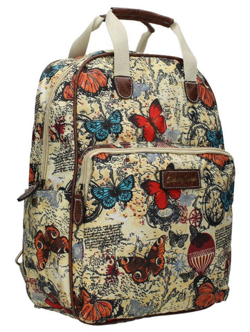 Swanky SwansAtlantis Vintage Map & Butterfly Backpack BeigeBeautiful cheap school backpack bag