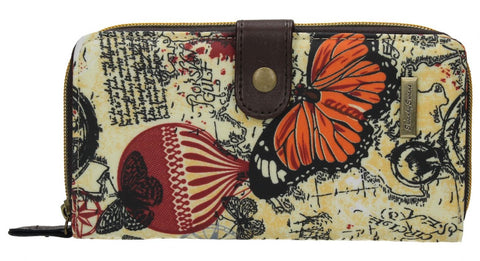 Swanky Swank Atlantis Map & Butterfly Large Purse BeigeCheap Cute School Wallets Purses Bags Animal