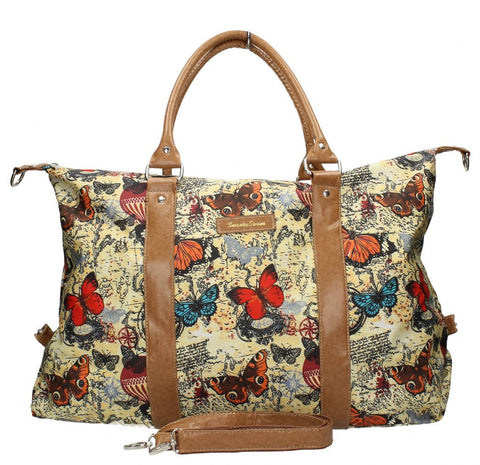 Swanky Swans Atlantis Vintage Map & Butterfly Print HandbagCheap Fashion Wedding Work School